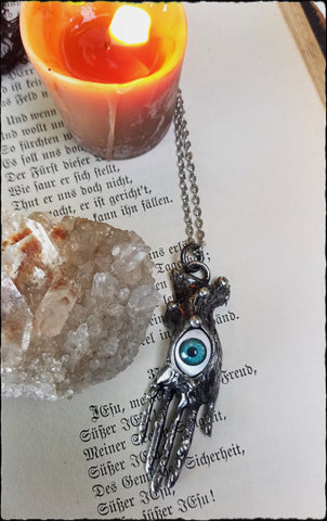 Seer~ eyeball victorian hand necklace~