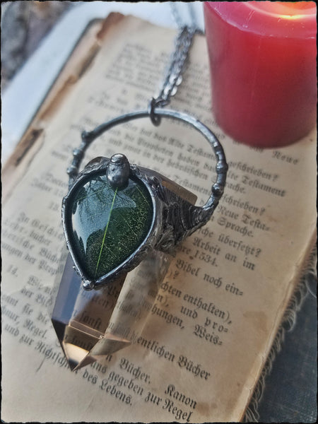 Willow~smoky quartz and resin leaf talisman necklace~
