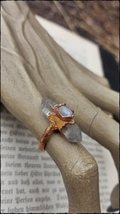 Tabetian quartz and moonstone E -formed bright copper ring size 5 ~