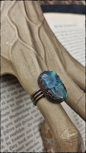 Sterling silver carved labradorite skull ring size 7.5~