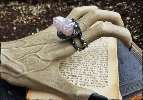 Lyra~Angel aura Faery quartz Adjustable Ring