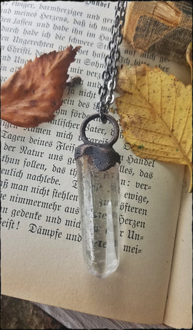 Polished inclusion quartz crystal copper electroformed necklace~