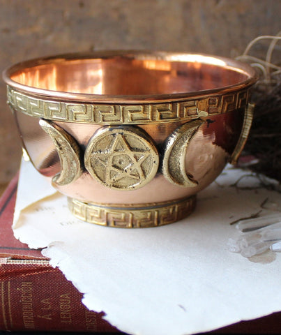Copper triple Moon pentagram offering Bowl