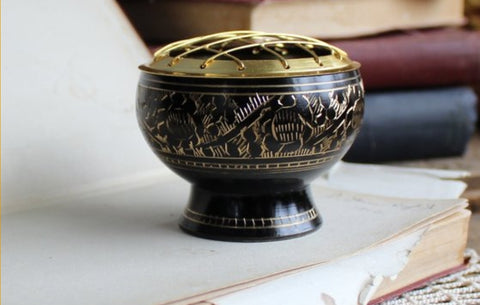 Black carved brass incense burner~