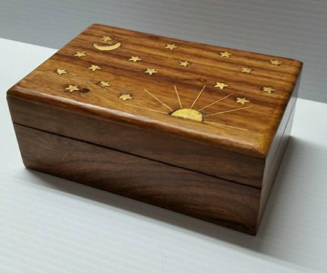 Wooden and brass tarot box~Wicca~wand~Pagan~Bohemian Gypsy Witch ~Ritual ~Witchy~Wiccan