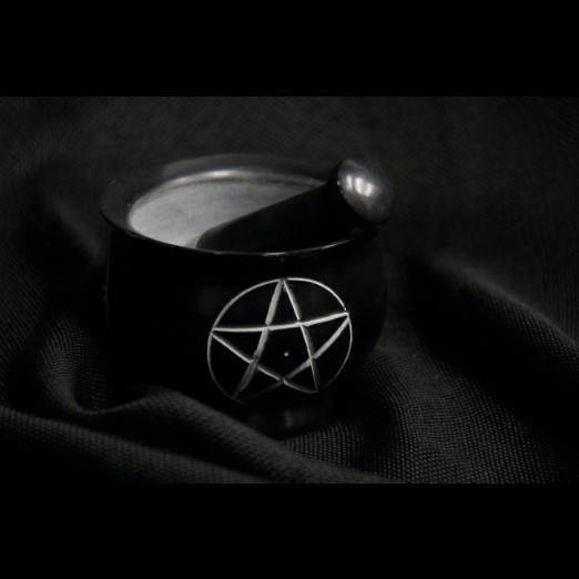 Pentagram black soapstone mortar and pestle ~