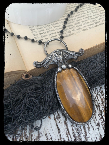 Afterdark~Tigers eye bat Tiffany Technique necklace~