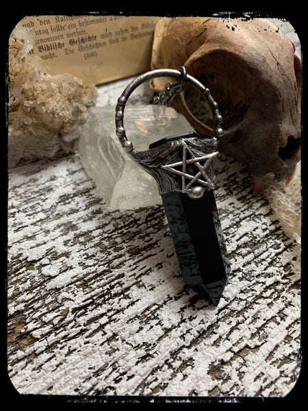 Coven(made to order)~obsidian pentagram crystal Tiffany technique talisman necklace~