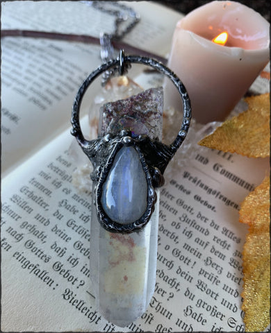 Lodolite Inclusion polished quartz and moonstone crystal talisman necklace~