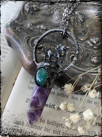 Legend~ dream amethyst and Amazonite unicorn Tiffany  technique crystal necklace~