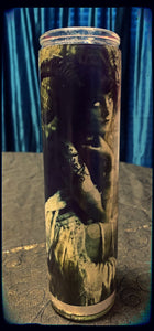 Vintage decoupage horned lady devotional candle~