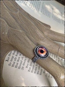 Monster mash ~sterling silver eyeball ring size 6.5~