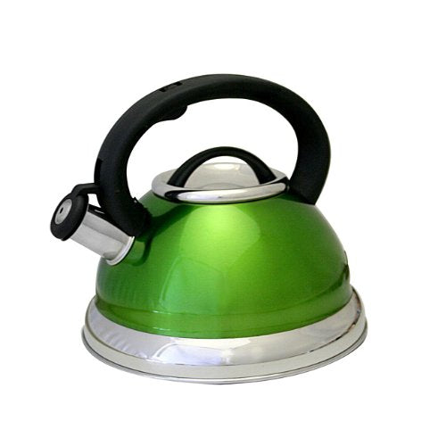 Whistling Tea Kettle in Shiny Metallic GREEN- 2.5qt. - ShopSmartMarket