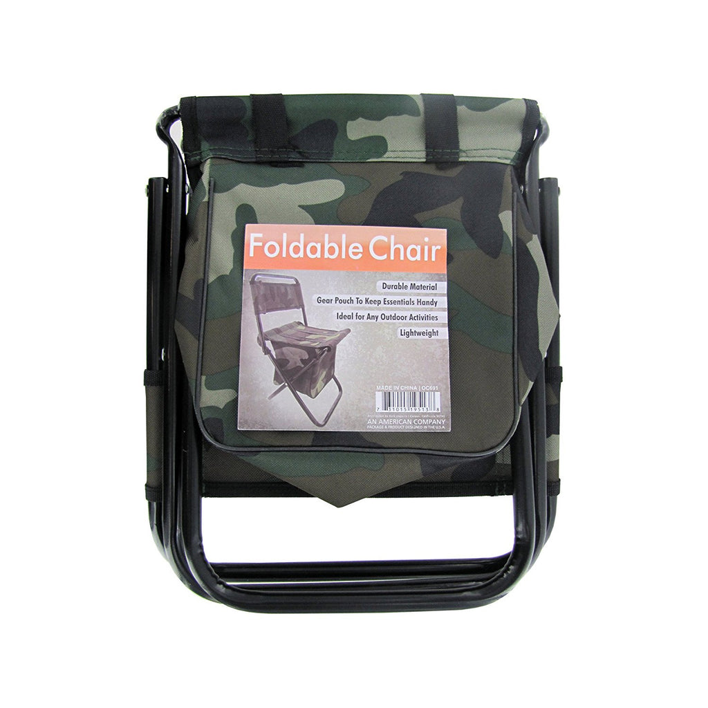 "Kole Imports OC691 Camouflage Foldable Chair with Zipper Gear Pouch, 18"" x 8"" x 9"" - ShopSmartMarket"