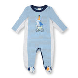 Footed Stripe Coverall with Puppy Feet