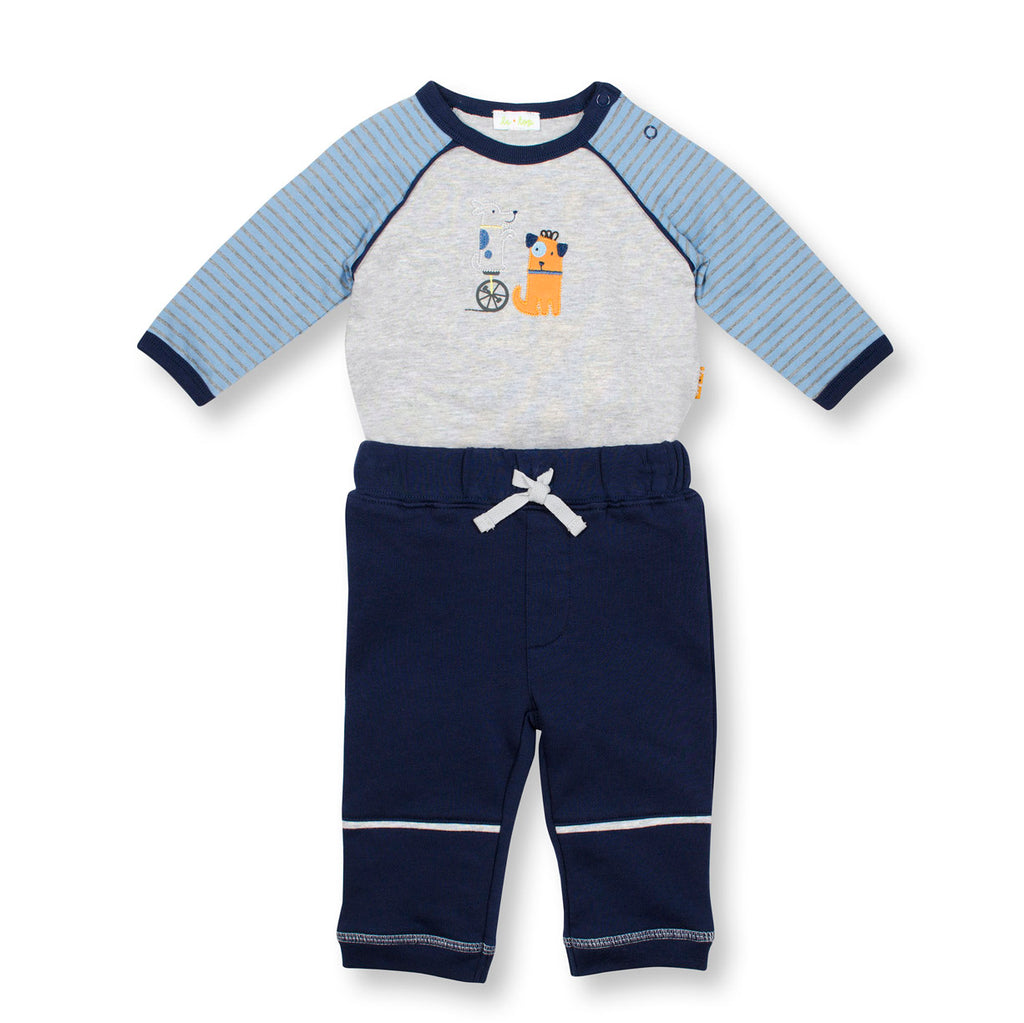 Dog Tricks Bodysuit and Navy French Terry Pants Set