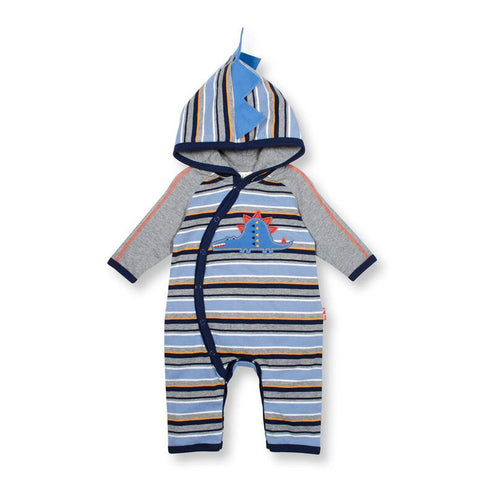 Hooded Wide Stripe Coverall With Curved Front Stegosaurus