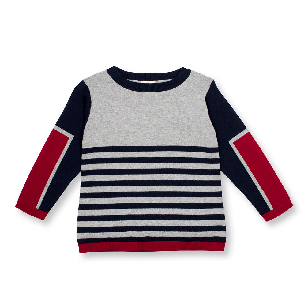 Boys Solid and Strip Sweater