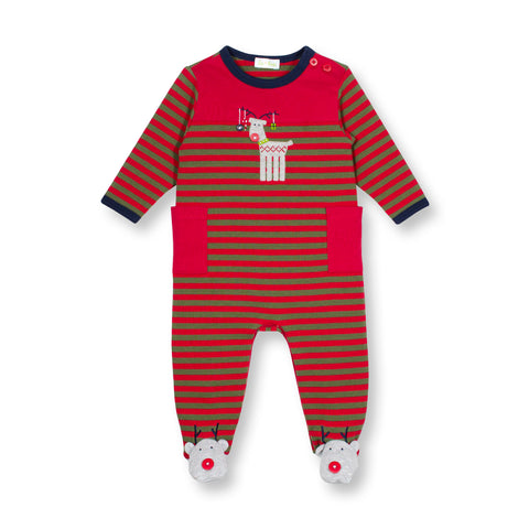 Reindeer Waffle Weave Striped Coverall