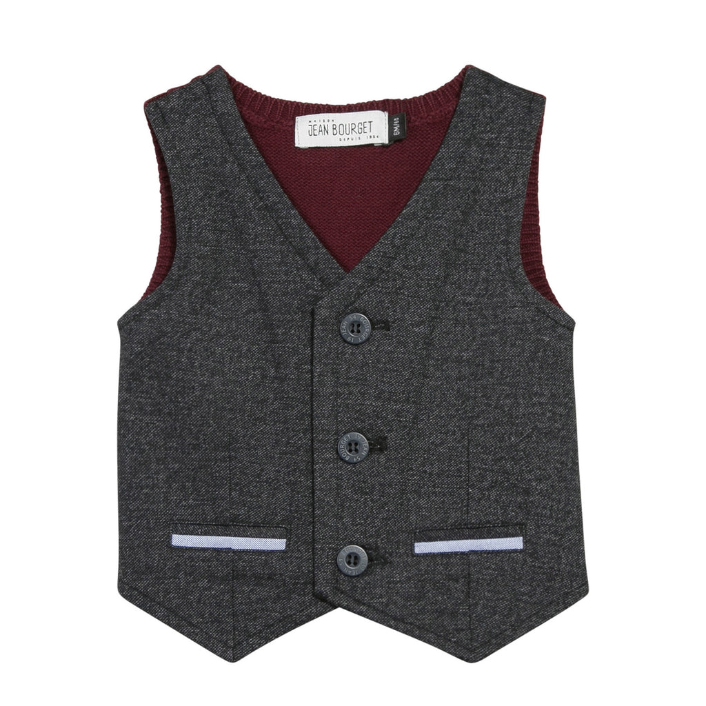 Boys Grey V-Neck Vest