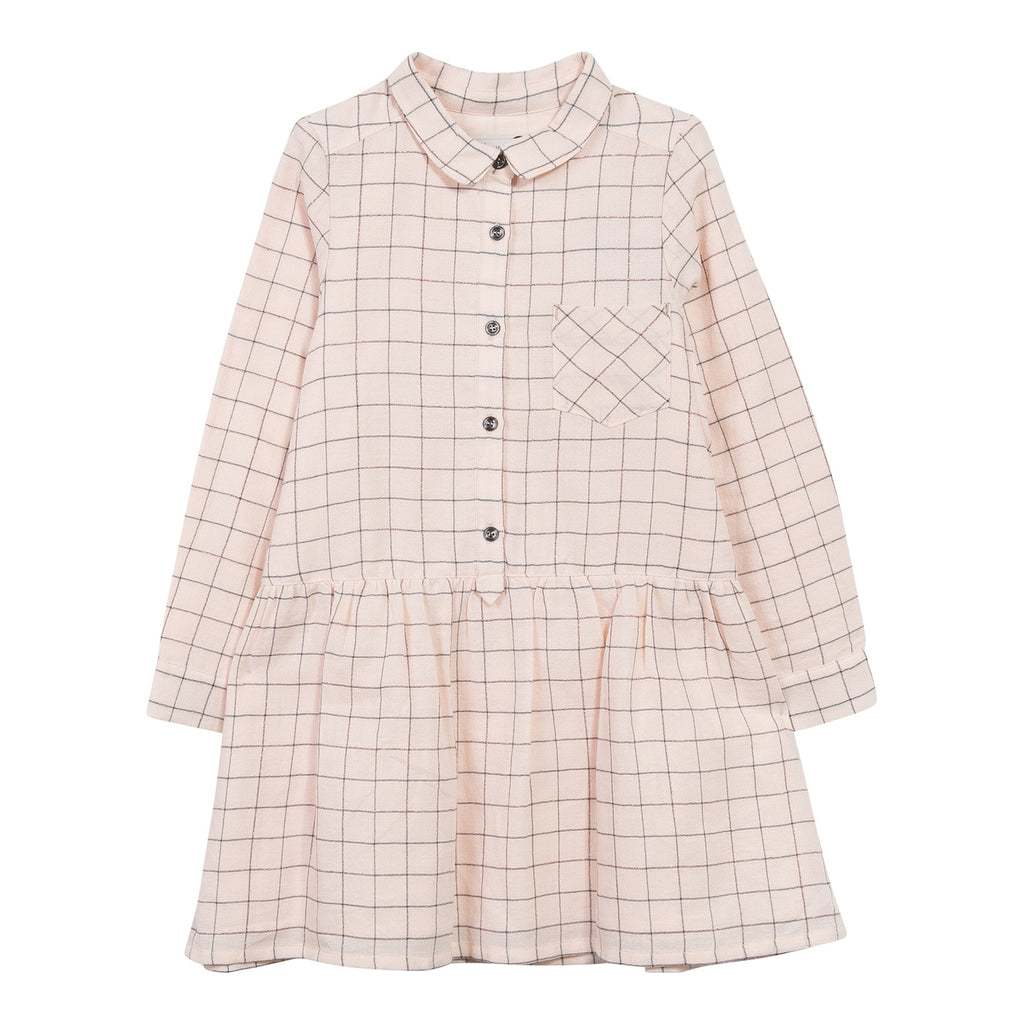 Peach Checked Shirt Dress