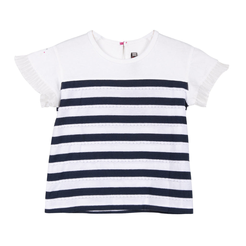 Girls T-shirt with braid stripes