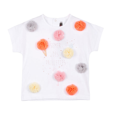 T-shirt With Pompom Pattern