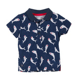 Sharks Print Jersey Polo Shirt