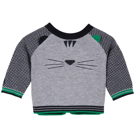 Knitted Cardigan With Cat Embroidered On Back