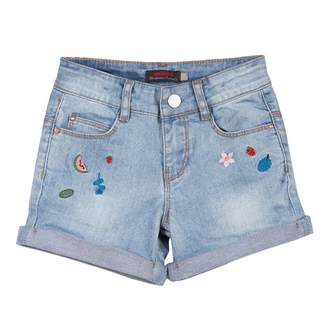 Bleached Denim Shorts with Embroidery