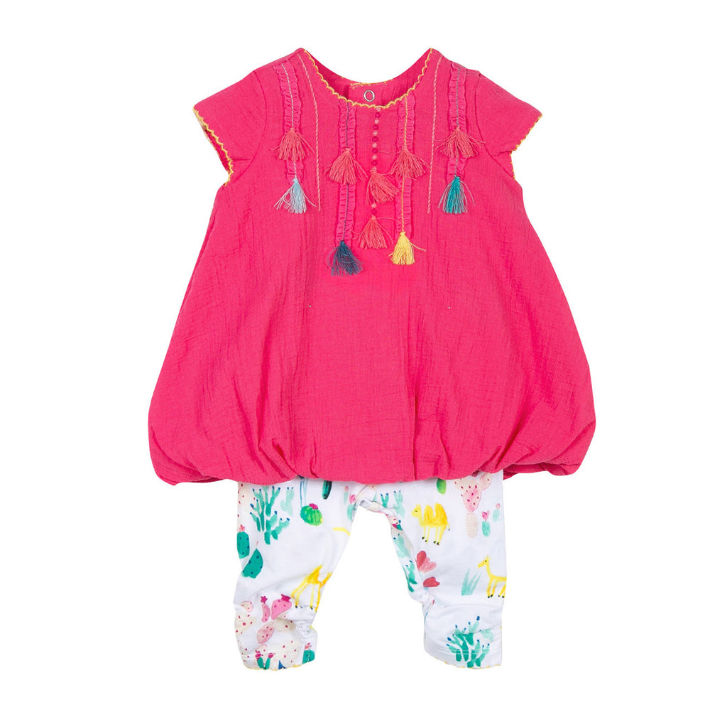Baby Girls Crepe Bubble Dress + Printed Leggings