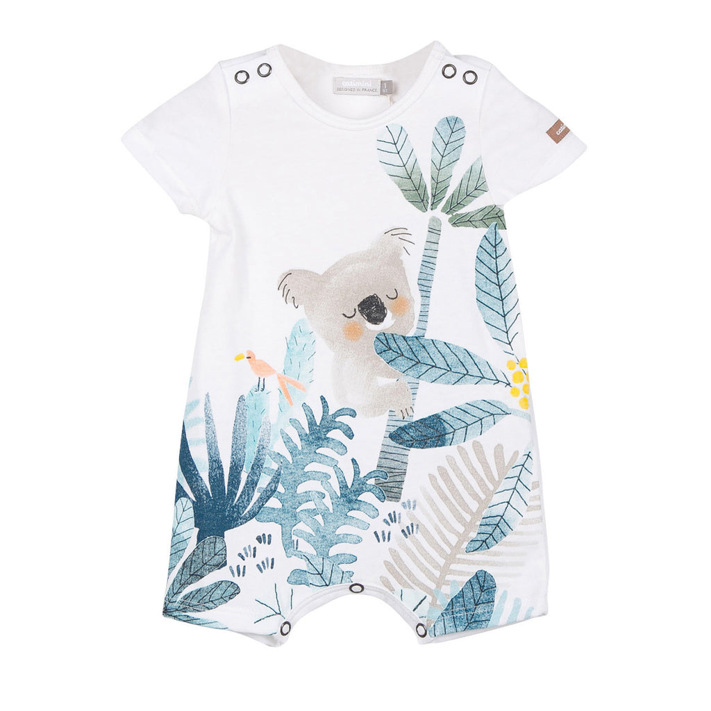 Baby Boys Short Jersey Romper With Koala
