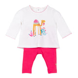 Baby Girls Printed T-shirt + Reversible Leggings Set