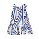 Girls Blue Striped Dress