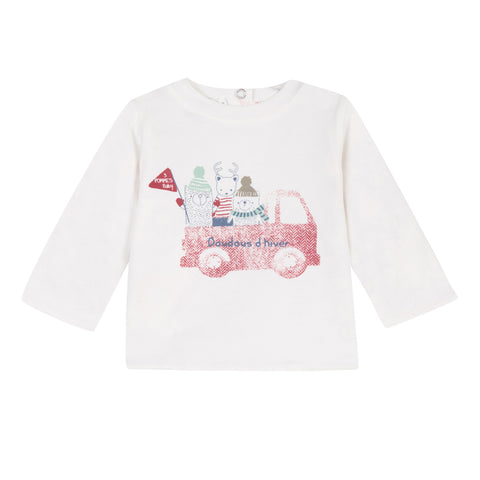 Baby Boys White Reversible Tee