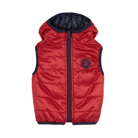 Boys Reversible Sleeveless Padded Jacket - Red