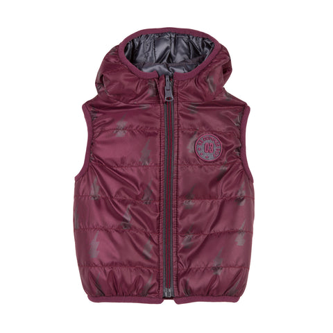 Boys Reversible Sleeveless Padded Jacket- Bordeaux/Steel