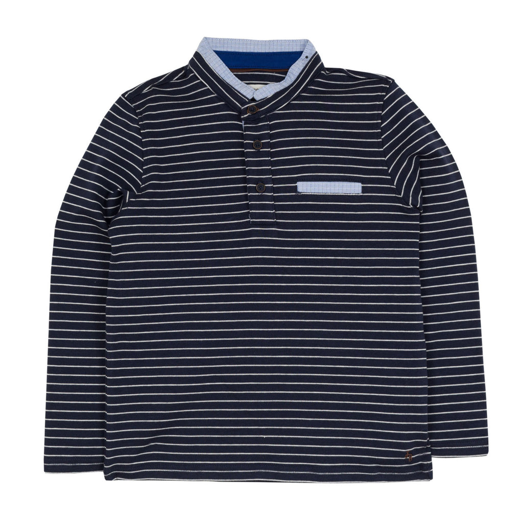 Boys Striped Small Collar Shirt