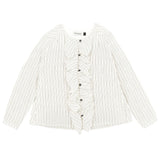 Girls Stripe Print Shirt with a Yoke