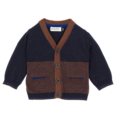 Boys Brown Striped Cardigan