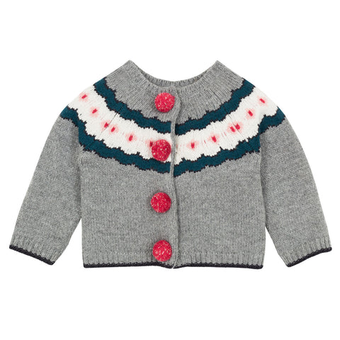 Baby Girls Multicolor Jacquard Knit Cardigan
