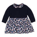 Baby Girls Bi-Material Dress with a Peter Pan Collar