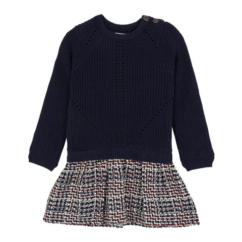 Girls Tweed Sweater Dress
