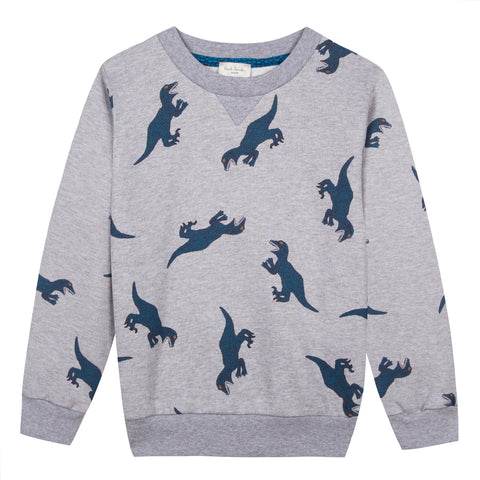 Boys Light Grey 'Dino' Print Sweatshirt