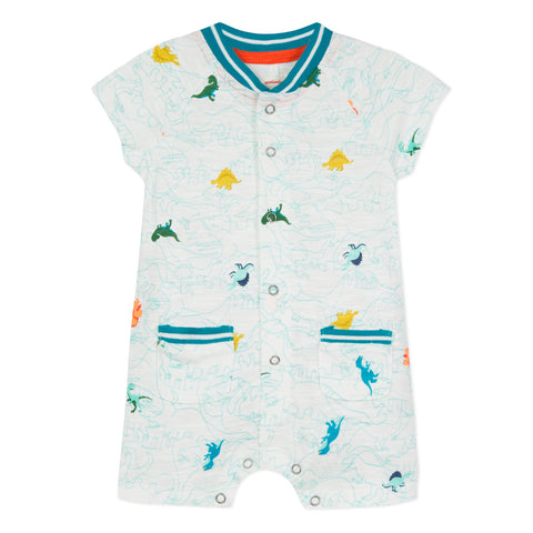 Baby Boys Short Romper with Dinosaur Print
