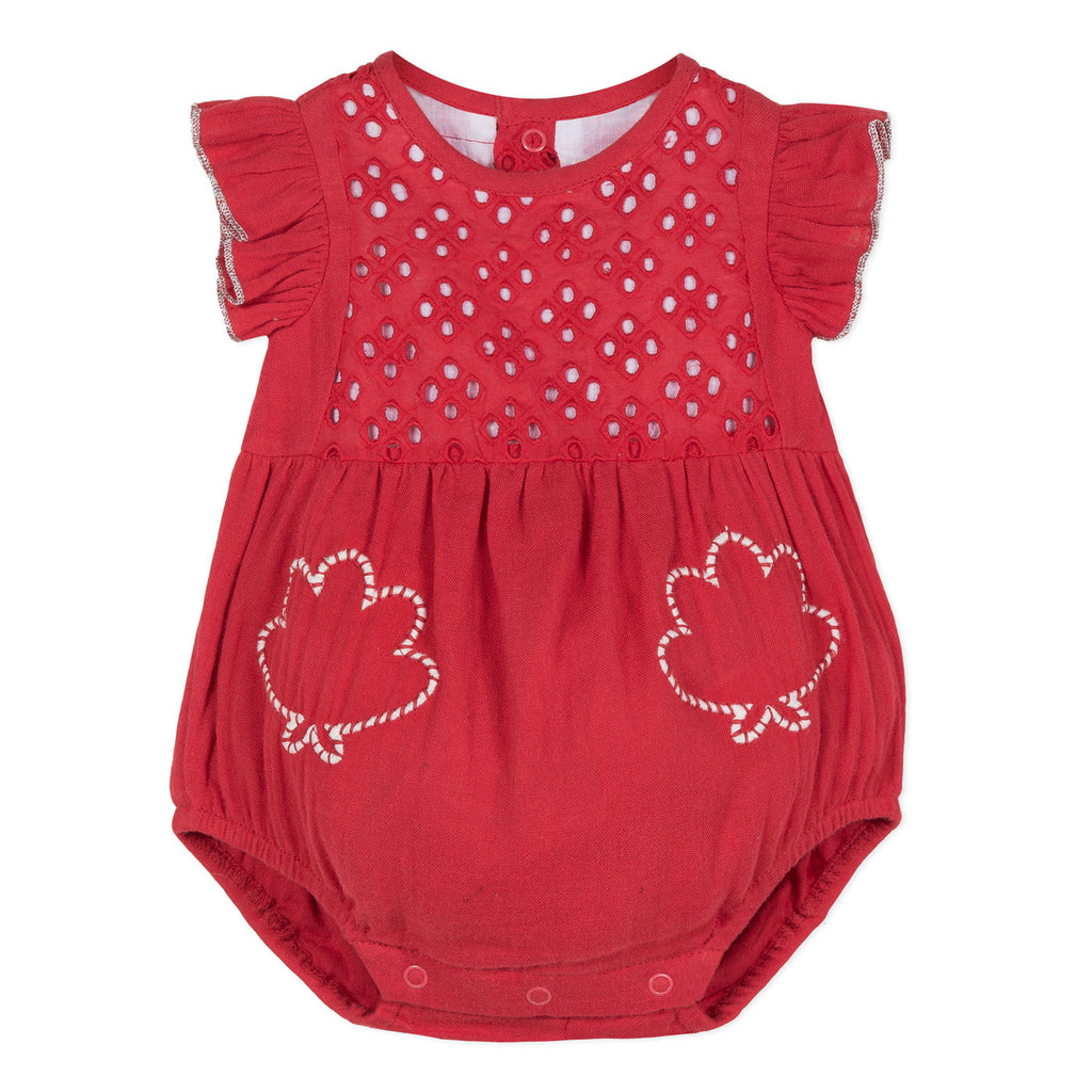 Baby Girls Eyelet Jumpsuit with Embroidery
