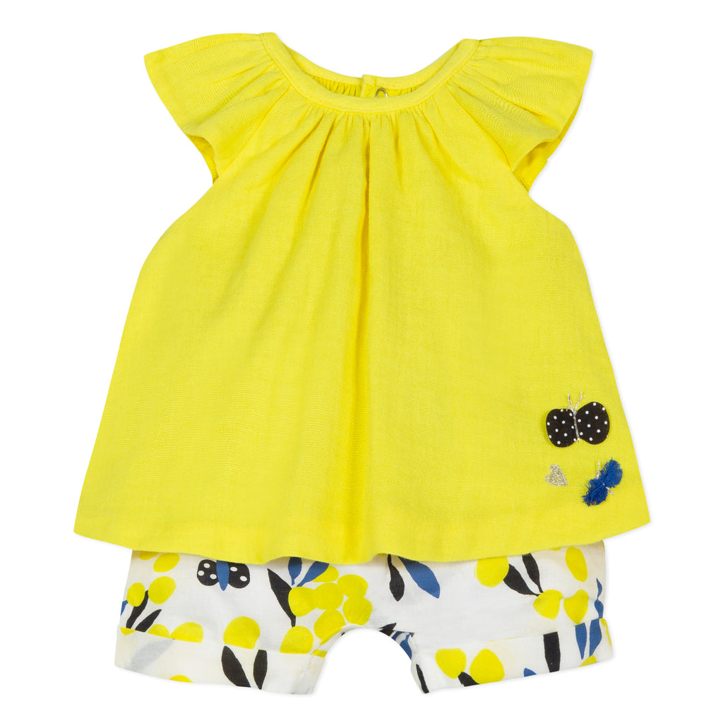Baby Girls Gauze Top with Mimosa Print Shorts