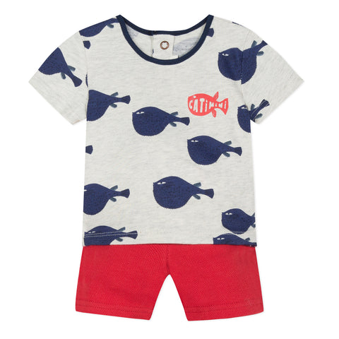 Baby Boys Printed T-shirt and Pique Knit Shorts Set