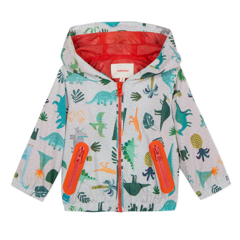 Dino Print Hooded Coated-Fabric Bomber Jacket