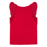 Girls Red Ruffle Top